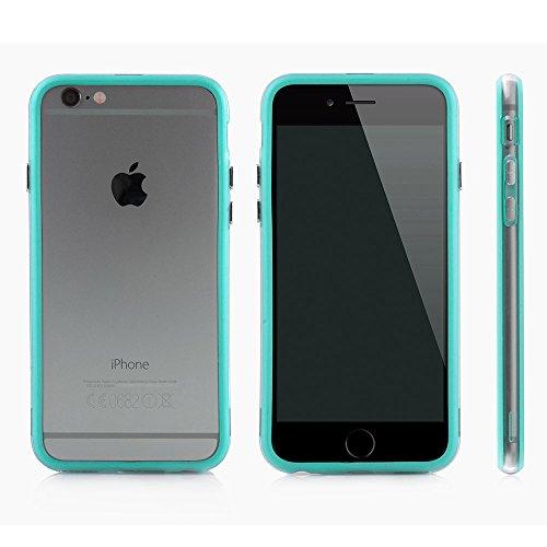 Bumper Case Cover für Apple iPhone 6 / 6s (4,7 Zoll) - Schutzhülle für den Rand aus PC mit Dämpfern aus Silikon in schwarz macht den Rahmen besonders leicht und dünn - iPhone6/6s Hülle Tasche Schale v hell blau