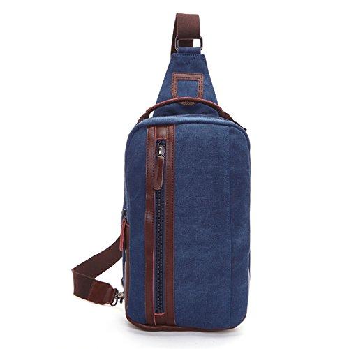 Outreo Herren Brusttasche Kleine Umhängetasche Canvas Schultertasche Vintage Tasche Sporttasche für Sport Herrentaschen Reisetasche Back Pack Retro Taschen Blau