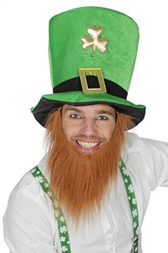 Wilbers Kostüm Zubehör Hut Zylinder Irland Kobold mit Bart Karneval