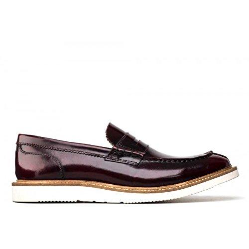 Base London Mocassino Uomo Sneaker Leather Hi Shine Bordo_42