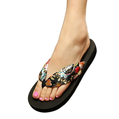 Yodensity Hausschuhe Sommerschuhe Damen Strand Schuhe Böhmen Damenschuhe Schwarz