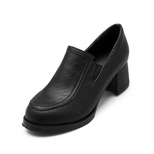 VogueZone009 Femme à Talon Correct Matière Mélangee Couleur Unie Rond Tire Chaussures Légeres Noir