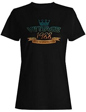 Vintage 1988 envejecido a la perfección hecho en llevado camiseta de las mujeres kk87f