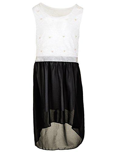 Fashionteam24 Festliches Mädchen Sommer Kleid Perlen Hochzeit Blumenmädchen Kommunion Freizeit M432sw Schwarz 18/170