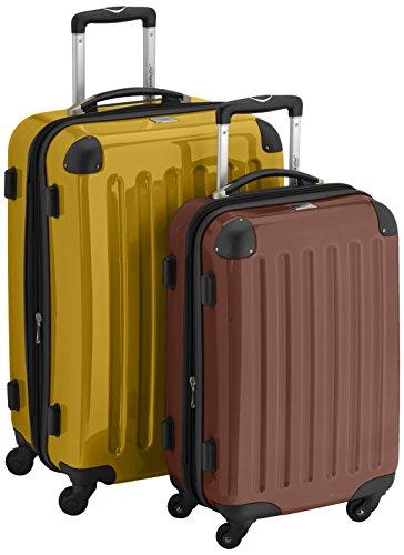 HAUPTSTADTKOFFER - Alex - 2er Koffer-Set Hartschale glänzend, 65 cm + 55 cm, 74 Liter + 42 Liter, Gelb-Braun