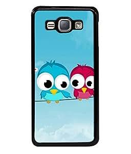 PrintVisa Designer Back Case Cover for Samsung Galaxy J1 (6) 2016 :: Samsung Galaxy J1 2016 Duos :: Samsung Galaxy J1 2016 J120F :: Samsung Galaxy Express 3 J120A :: Samsung Galaxy J1 2016 J120H J120M J120M J120T (Sky blue birds pink big eyes)