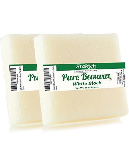 2 Lb Block (stakich Pure weiß Bienenwachs Block–100% natürlich, Kosmetik Qualität, Premium Qualität -, Bienenwachs, weiß, 2 lb (in 1 lb blocks))