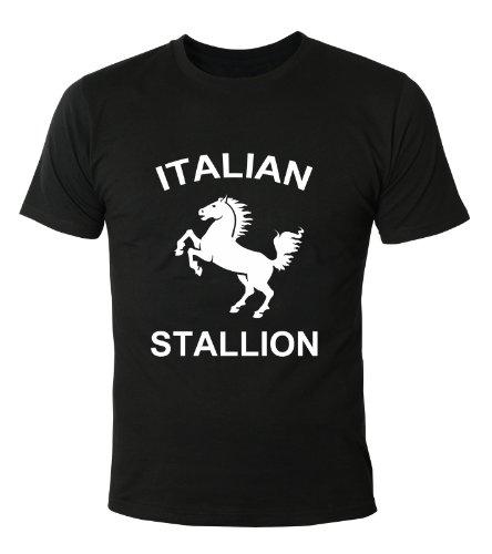 Mister Merchandise Cooles Herren T-Shirt Italian Stallion Stallone Rocky cult Kult , Größe: M, Farbe: Schwarz