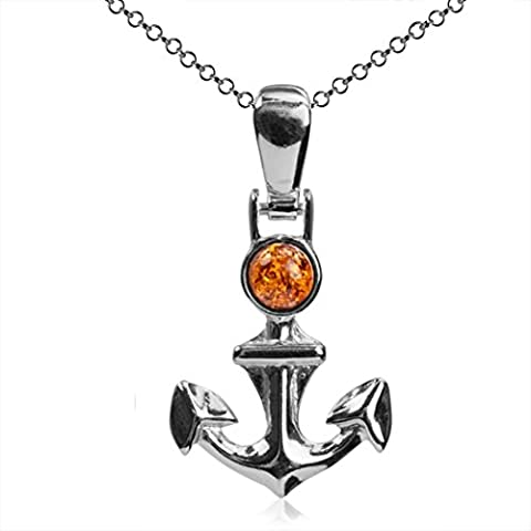 Baltic Honey Amber and Sterling Silver Small Anchor Pendant Neckalce 18