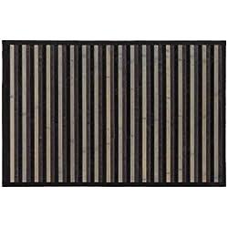 Alfombra de Madera de Bambú de rayas grises