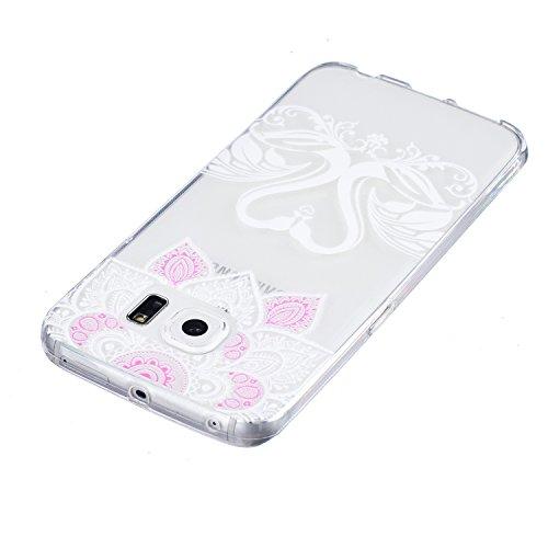 CaseHome Samsung Galaxy S6 Edge Silikon-Gel TPU Ultra Dünner Stilvoller Schöner Eleganter Netter Einzigartiger Prägeartiger Muster-Entwurf (mit freiem Griffel) Weicher Gummi-transparenter TPU Stoßdämp Herzförmiger Schwan, Mandala