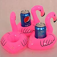 Fengh 3PCS Inflatable Flamingo Floating Coasters Pool Toys Pool for Drinks -Pink