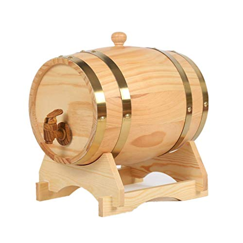 MY1MEY 3L Oak Barrel, Real Wooden Barrel Containing Aluminum Foil Liner for Storing or Brewing Wine Whiskey Spirits (Color : Natural, Size : 3L)
