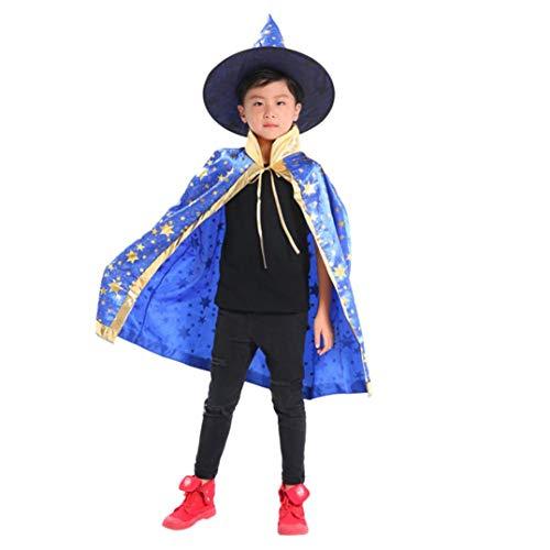 Ears Kinder Halloween Party Kostüm Halloween Kinder Erwachsene Kinder Halloween Baby Kostüm Zauberer Hexe Umhang Cape Robe + Hat Set