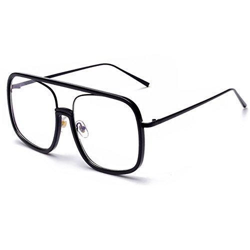 SHEEN KELLY Damen Sonnenbrille Platz Transparente Linse Oversized Frame Eyewear Klare Linse für Männer Brille