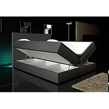 Boxspringbett Grau 140x200 2 Bettkasten Hotelbett Bett LED Polsterbett Rio Lift