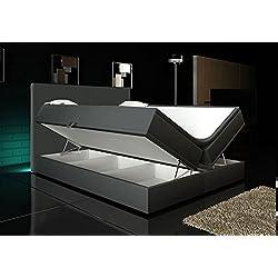 Boxspringbett Grau 160x200 inkl. 2 Bettkasten Hotelbett Bett LED Polsterbett Rio Lift
