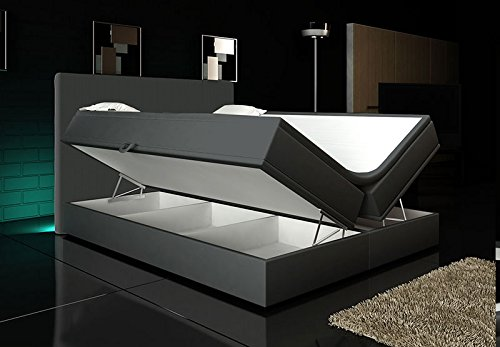 boxspringbett grau 160 200 inkl 2 bettkasten hotelbett bett led polsterbett rio lift smash. Black Bedroom Furniture Sets. Home Design Ideas