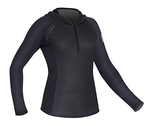 Camaro Damen Shirt Langarm mit Kapuze Blacktec Hoody, Schwarz, 38 (Camaro Hoodie)