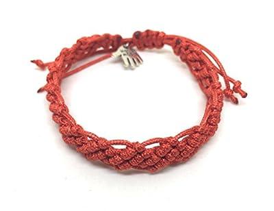 Bracelet en Macramé, Rouge, Unisexe, Fait à la Main