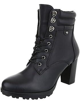 Schnürstiefeletten Damenschuhe Combat Boots Pump Schnürer Schnürsenkel Ital-Design Stiefeletten