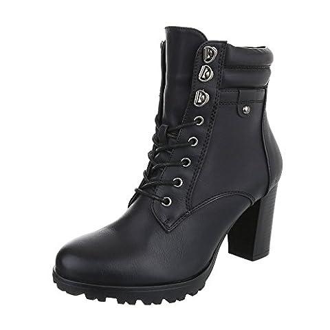 Schnürstiefeletten Damen-Schuhe Combat Boots Pump Schnürer Schnürsenkel Ital-Design Stiefeletten Schwarz, Gr 38,
