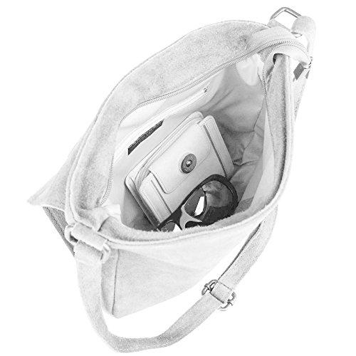 OBC ital-design Stern Tasche Wildleder Schultertasche Damentasche Henkeltasche CrossOver Sportliche Tasche Umhängetasche (Cognac) Hellgrau