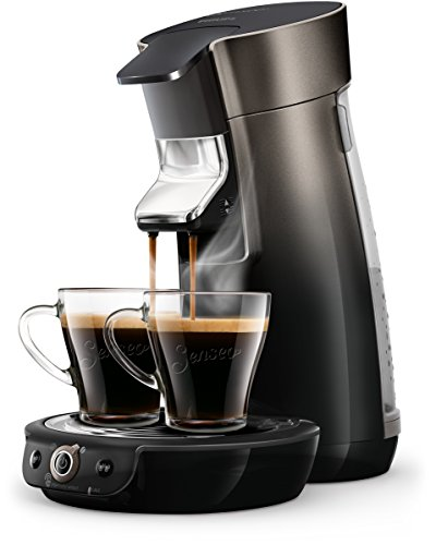 Philips Senseo HD6566/50 Viva Café Kaffeepadmaschine, 1450, Metallic Schwarz