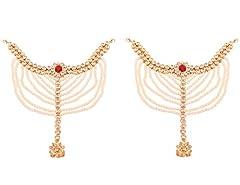 Idea Regalo - Touchstone Desiderio di look etnico tempestato di reni bianchi perle finte rubino da sposa essenziale aspetto drammatico pesante cavigliere paganti panzer per donna Rosso