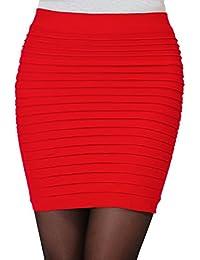 Minetom Femme Sexy Mini Jupes Extensible Moulante Courte Taille Haute  Plissée Package Hanche 81feff7c4876