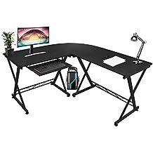 Mari Home Westfield - Escritorio de esquina para oficina o casa, grande, color negro, para ordenador, con una bandeja para teclado