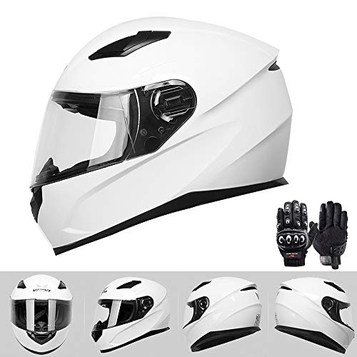 Motocross Helmets for Men and Women Full Face Adult Uncovering Dakar Rally F1 Racing Helmet Safety Cap, Road Motorized Riding Gear,White,XXL(23.62