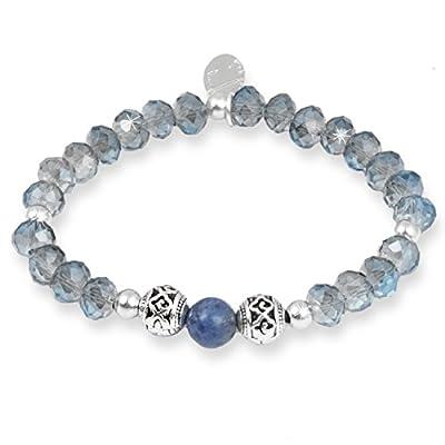 Grey/Blue Glow-Sodalite Crystal Disco Ball Beads Bracelet