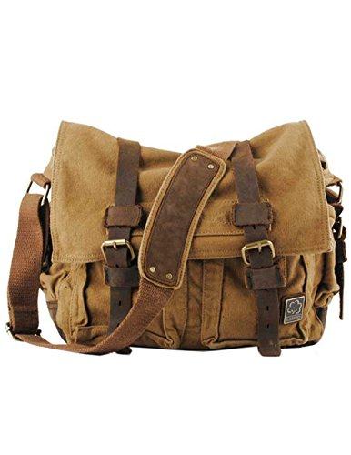 Menschwear Vintage Canvas Messenger Bags Casual Spalla Dell'imbracatura Pacchetto Daypack Caffè Giallo