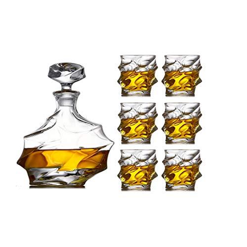 LSRRYD 7-teiligest Whisky Dekanter Set,Wein Dekantierer Belüfter Whiskey Decanters,mit Luftdichtem Verschluss Karaffe Aus Glas Hergestellt In Handarbeit Vintage Design,Spülmaschinentauglicher