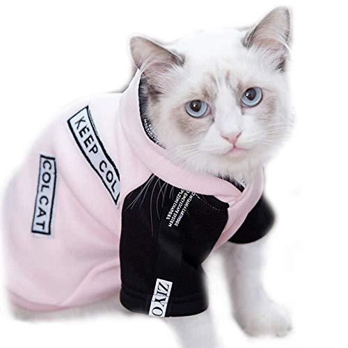 HYCy Haustier-Kostuuml;m Hund Kauml;tzchen Brief Katze Kleider Haustier Kauml;tzchen Herbst Sweatshirt Mit Hut, Blau Rosa (Katze Im Hut Sexy Kostüme)