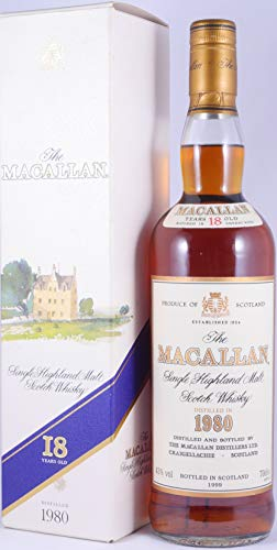 Macallan 1980 18 Years Sherry Wood Highland Single Malt Scotch Whisky 43,0{5a97cca8cf7c00e919b82183fa7c26942e64cea551e7ba5f89d6e0255cc1f4ed} Vol. Bottled in 1999 - absolut seltene Originalabfüllung eines erstklassigen old Style Macallan!