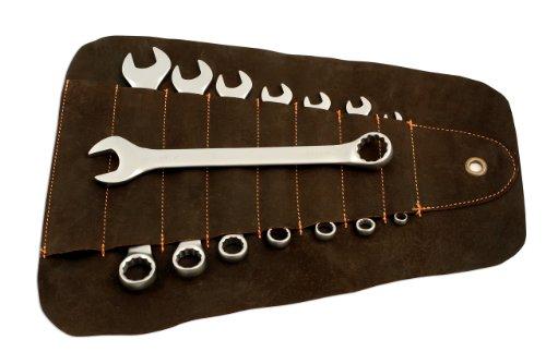 Gunson 77124.0 Kombinations-Maulschlüsselsatz, 8-Teilig, Whitworth (Leder Schraubenschlüssel Roll)