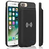 Epuirie Custodia con batteria per iPhone 6/6S/7/8 con ricarica wireless standard QI, 3800 mAh, batteria esterna portatile e ricaricabile, batteria di riserva Nero