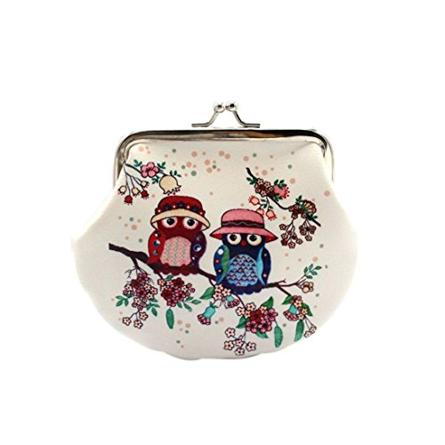 Kolylong Women Lady Retro Vintage Lovely Owl Small Wallet coin Purse Clutch Bag gift (A)