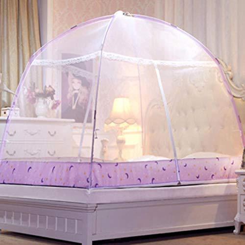 FimQB Rose élégantemoustiquairemongoleAdultes Couvres de lit moustiquaire en Filet moustiquaire Pliante Pas Cher moustiquaire Pliante Berco Portatil, Blanc, lit de 1,2 m (4 Pieds)