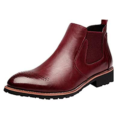 2aca2d194b0f Mens Womens Leather Chelsea Ankle Boots Brogues Business Dealer Dress Shoes  with Fur Winter Autumn Red