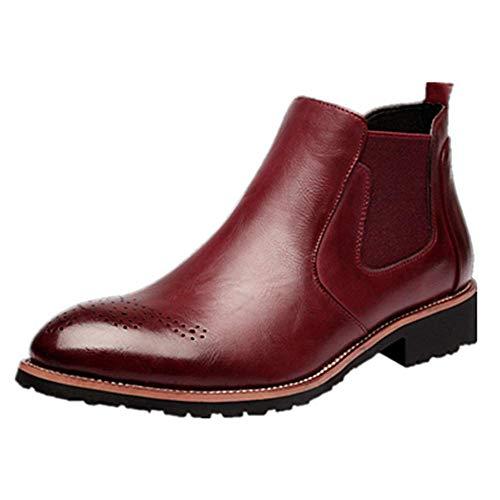 Hombre Botas Chelsea de Cuero Elegantes Calzado Oxfords Zapatos Forro Piel Sneakers Invierno Otoño Zapatos Rojo 39