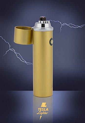 Tesla-Lighter T02 | Lichtbogen Feuerzeug, Plasma Double-Arc, elektronisch wiederaufladbar, aufladbar mit Strom per USB, ohne Gas und Benzin, mit Ladekabel, in edler Geschenkverpackung - verschiedene Farben (Matt-Gold)