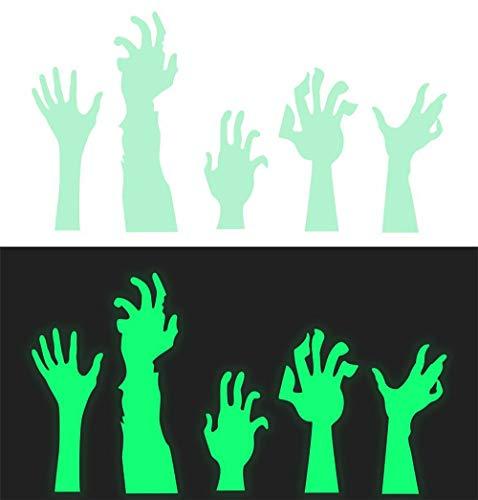 Big-Mountain Luminous Handabdrücke Aufkleber | Halloween | Vampir Zombie Party Decor Abziehbilder | Wandaufkleber PVC Fluoreszenz Stickers Wandbild Fenster Dekoration (Grün)