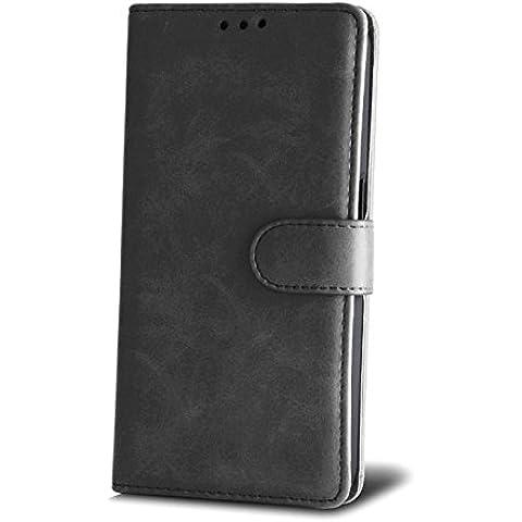 Book Case Elegance Negro para LG K4Cover Funda Flipcase Funda Libro Forma Flexi Soporte para tarjetas de crédito