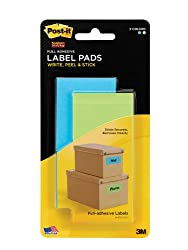 Post-it Super Sticky Label Pads, Removable, Electric Blue and Limeade, 2 x 4 Inches, 25 Labels per Pad, 2 per Pack (2900-BLB)