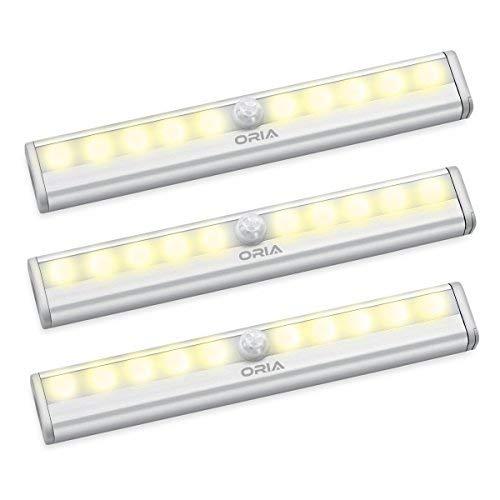 Oria Lampe Détecteur de Mouvement, Lampe de Placard, Veilleuse 10 LED, Automatique Appliques pour Vitrines avec Bande Magnétique, Alimenté par Batterie pour, Escalier, Cuisine, Penderie - Blanc Chaud