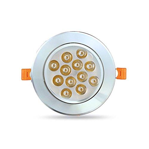 HG® LED Einbaustrahler für den Wohnbereich |auch für das Bad geeignet| Kaltweiß 12W 1120LM Rahmen weiss Rund Einbauspots Badleuchten, 6 Stück Einbauleuchten