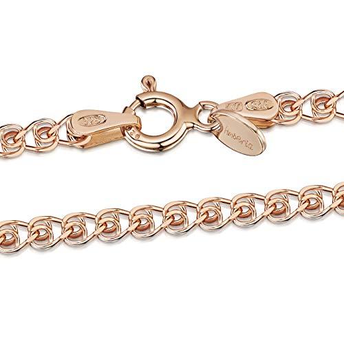 Amberta 925 Sterlingsilber Roségold 14K Damen-Halskette - Herzkette - 2.3 mm Breite - Verschiedene Längen: 40 45 50 55 60 cm (45cm)